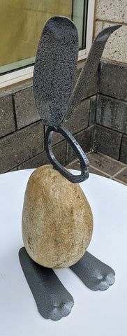 Walter | 12BY - Fieldstone and Iron Sculpture by artist Charles Adams and Thomas Widhalm