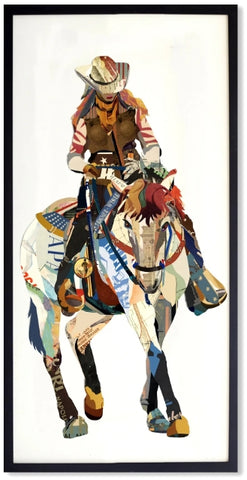 Cowgirl on Horse - Handcrafted Collage Edition Collage by artist Leonardo Studios