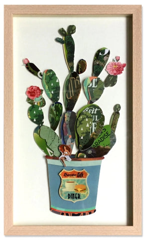 Prickly Pear - Handcrafted Collage Edition Collage by artist Leonardo Studios