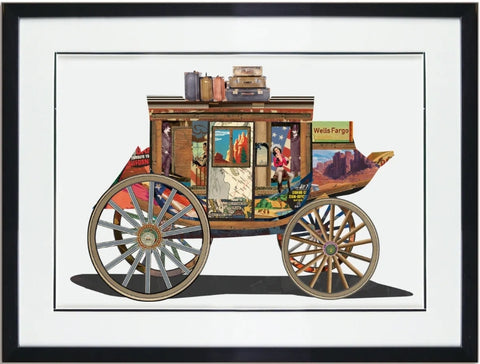 Stagecoach - Handcrafted Collage Edition Collage by artist Leonardo Studios