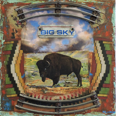 Big Sky and Buffalo - Acrylic /Mixed Media Collage by artist Dave Newman