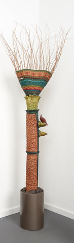Open Basket Totem - Ceramic/Mixed Media Wearable by artist Vicki Grant