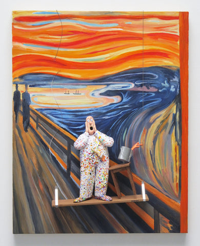 The Scream (Munch) - Acrylic/Paper Mache' Collage by artist Stephen Hansen