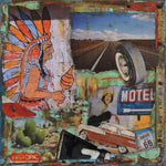 Historic Route 66 - Acrylic /Mixed Media Collage by artist Dave Newman