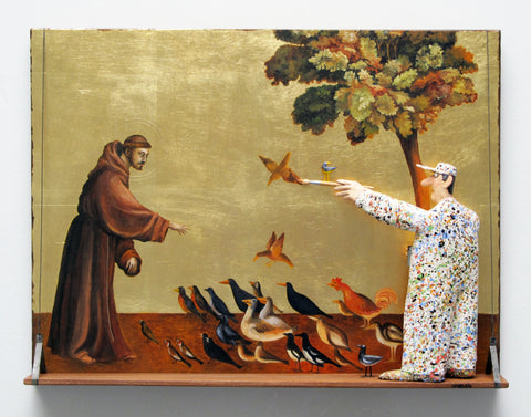 The Sermon to the Birds (Giotto) - Acrylic/Paper Mache' Paintings by artist Stephen Hansen