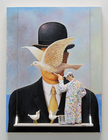 Man in a Bowler Hat (Magritte) - Acrylic/Paper Mache' Paintings by artist Stephen Hansen