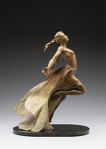 Into the Wind - Bronze Sculpture by artist Phyllis Mantik deQuevedo
