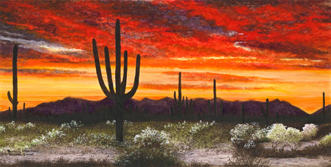 Arizona Sunset - Watercolor  by artist Barbara Allen