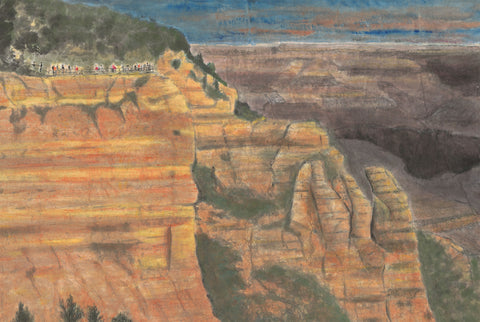 dawn at Mather Point, Grand Canyon (panel 1) - Chinese ink and watercolor  by artist Bob Schmitt