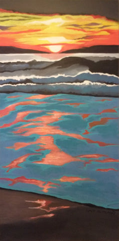 Sunset at San Gregorio #5 - Gallery Wrap Acrylics  by artist Janet Latshaw Simons