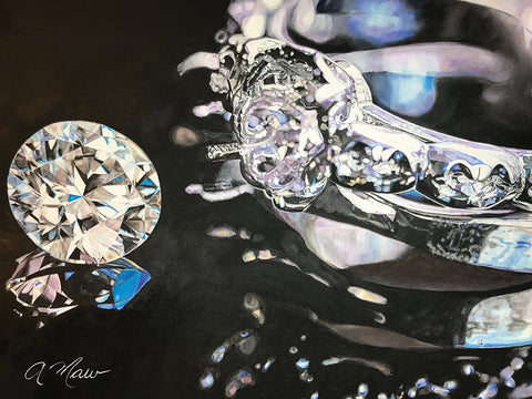 Diamond + Two Settings - Oil On Canvas  by artist Andrea Maw
