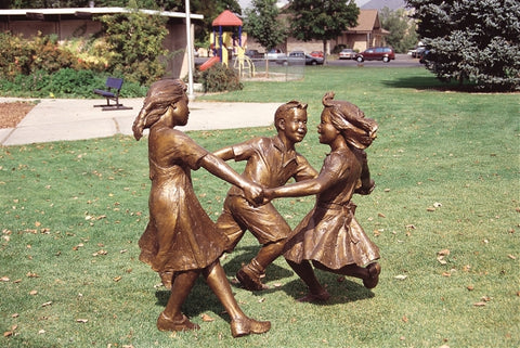 Circle of Peace (3 Kids) - Bronze Sculpture by artist Gary Lee Price