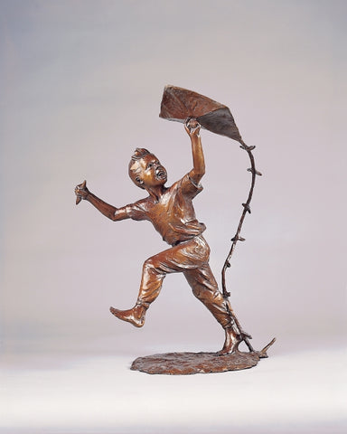 Windy Days Boy - Bronze Sculpture by artist Gary Lee Price