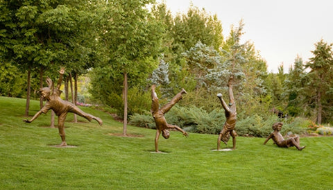 Cartwheel Kids Set - Bronze Sculpture by artist Gary Lee Price