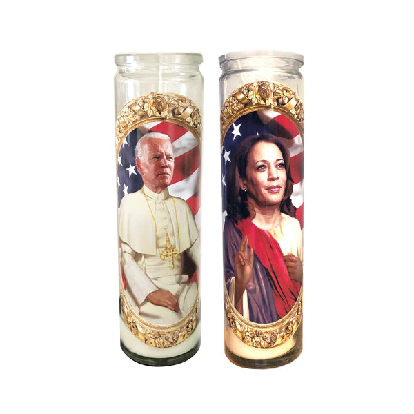 Biden-Harris Candle Set // Saint Biden and Saint Kamala Prayer Candle // Biden Harris Gift Set - Shop Celebrity novelty prayer candles online - Shrine On