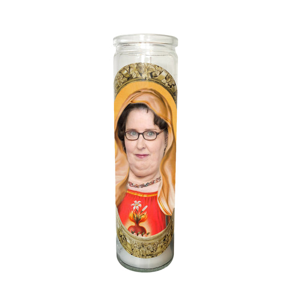 Phyllis Lappin Prayer Candle // Saint Phyllis Lappin  Candle // The Office Gift - Shop Celebrity novelty prayer candles online - Shrine On