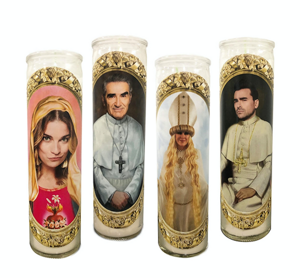 Schitt's Creek Prayer Candles // Four Schitt's Creek Candles // Schitt's Creek Gift Set - Shop Celebrity novelty prayer candles online - Shrine On