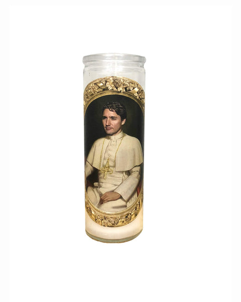 Saint Trudeau Prayer Candle // Prime Minister Justin Trudeau Gift - Shop Celebrity novelty prayer candles online - Shrine On