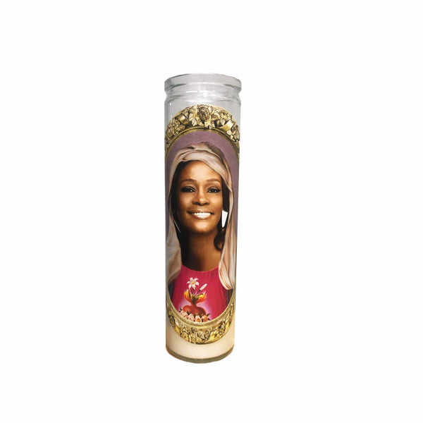 Whitney Houston Candle // Saint Whitney Houston Candle // Whitney Houston Ross Gift - Shop Celebrity novelty prayer candles online - Shrine On