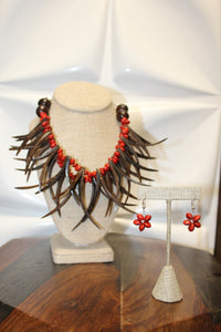 DOUBLE NIU NIFO NECKLACE & EARRING SET