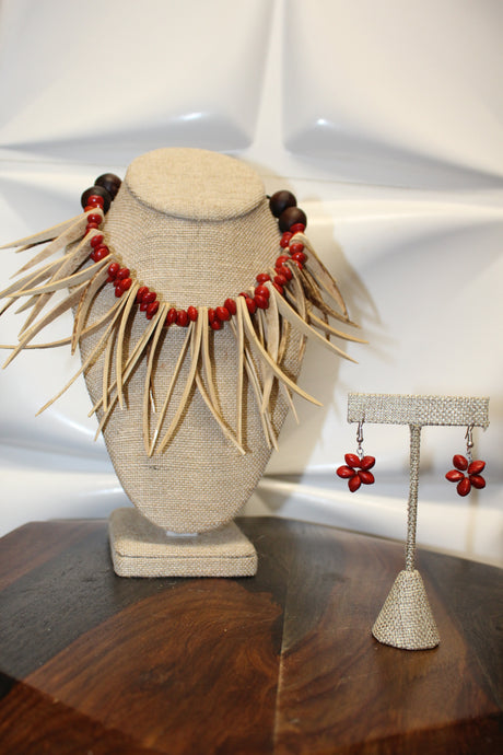DOUBLE NIU NIFO LOPA NECKLACE & EARRING SET