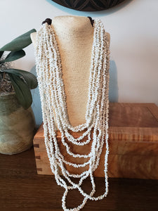 WHITE SHELL LONG STRAND NECKLACE & EARRING SET