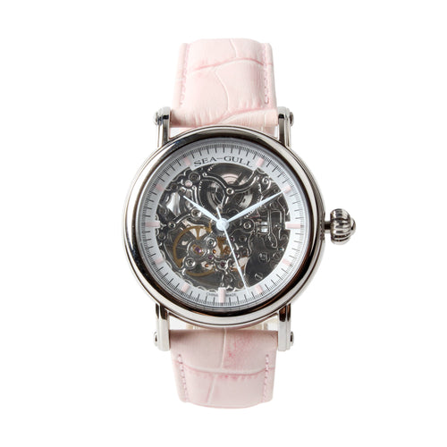 Seagull Double Skeleton M182SK Elegant Pink Automatic Watch