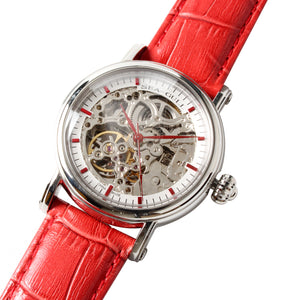 Seagull Double Skeleton Automatic Self Wind Watch M182SK Elegent Red