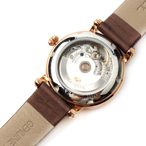 Seagull Rhinestones Gold Tone Crown Bezel Mechanical Watch 719.387 - seagull-watches