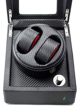 Load image into Gallery viewer, High-End Ultra Quiet Carbon Fiber Watch Winder for 2 Automatic Watches