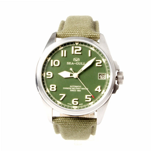 Seagull Automatic Chinese Military Watch Luminous Numerals D813.581 - seagull-watches