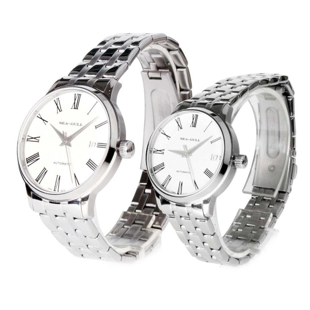 Seagull Couple Watches Roman Numerals Automatic Watches D816.455 + D816.455L - seagull-watches