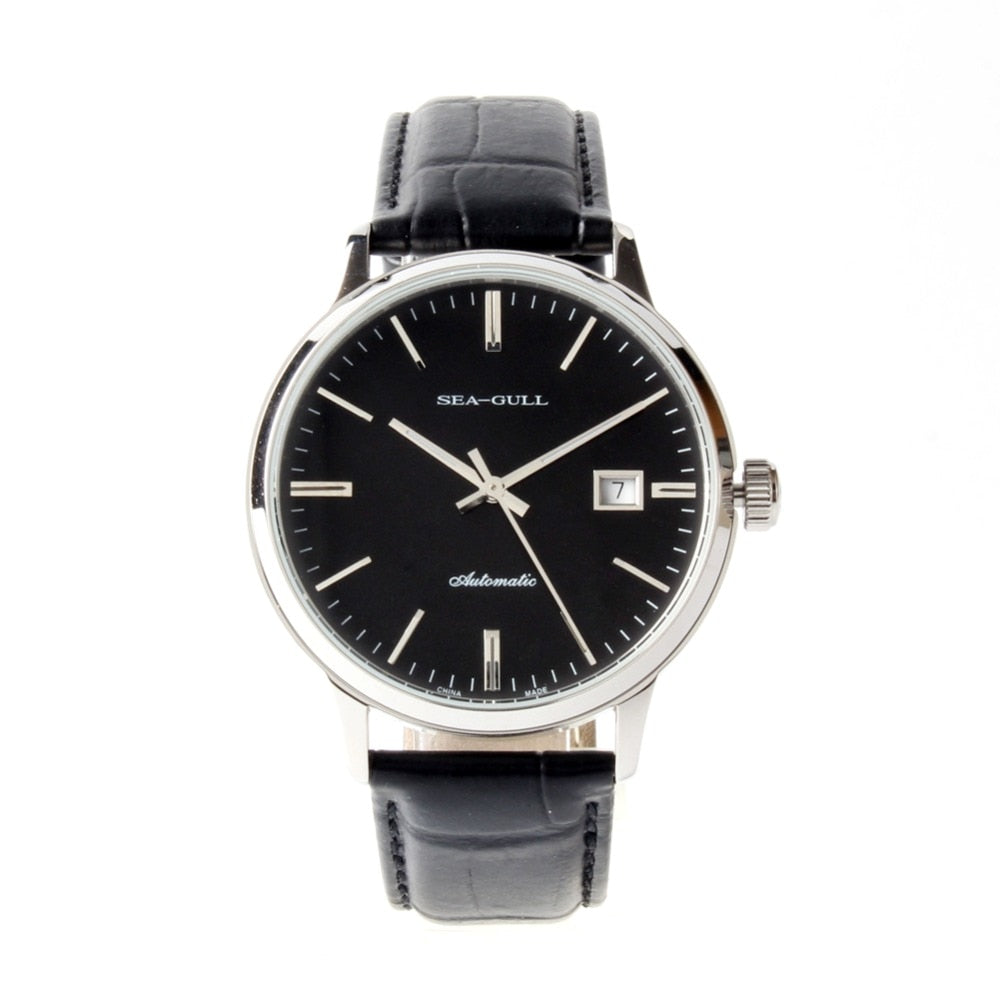 Seagull Black Dial Exhibition Back Automatic Watch D101 - seagull-watches
