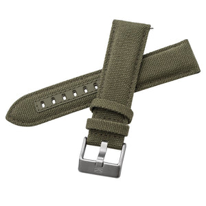 Military Green Genuine Leather Strap 24mm - seagull-watches