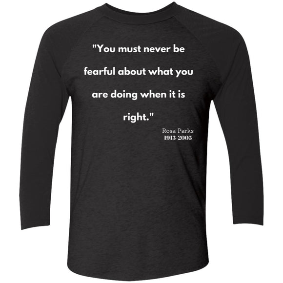 Rosa Parks Quote Tri-Blend 3/4 Sleeve Baseball Raglan T-Shirt