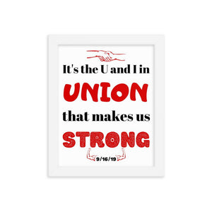 It's the U and I in union framed poster - Newday Unlimited