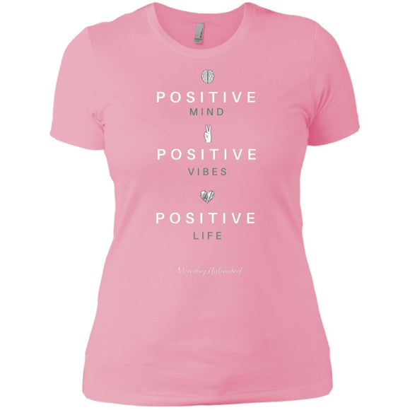 Positive Life Next Level Ladies' T-Shirt. (white & green font). - Newday Unlimited
