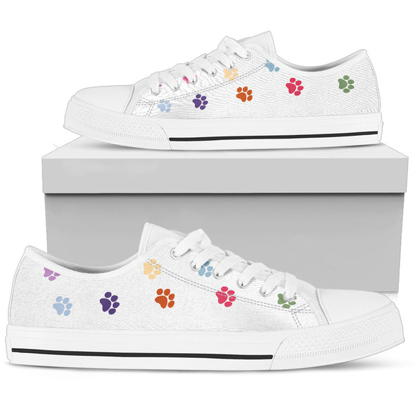 Paw Prints Low Top Shoes White