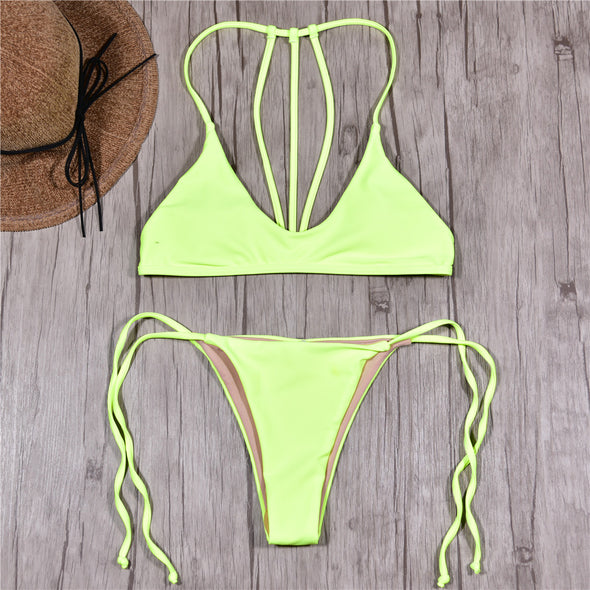 Neon yellow push up Brazilian bikini set