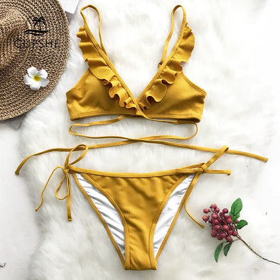 Yellow ruffle backless bikini set