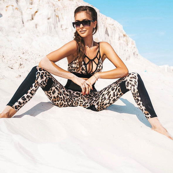 Leopard print yoga/gym set
