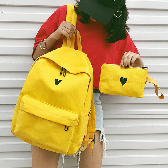 Mustard/yellow Love Heart backpack