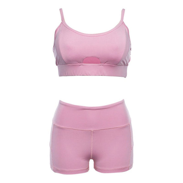 Pink Sports Bra + Short set