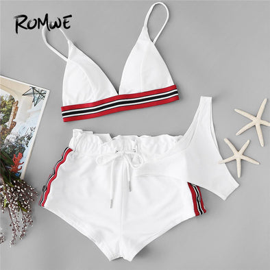 White Triangle Bikinis With Shorts