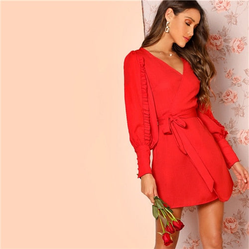Red rose long sleeve wrap dress