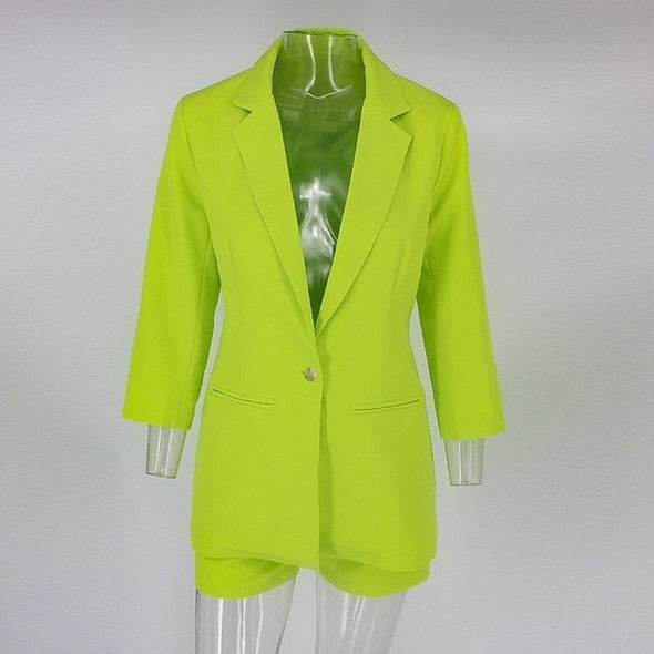 Neon green suit short set