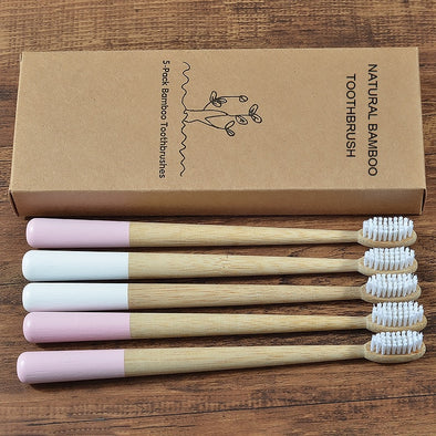5-Pack bamboo toothbrush