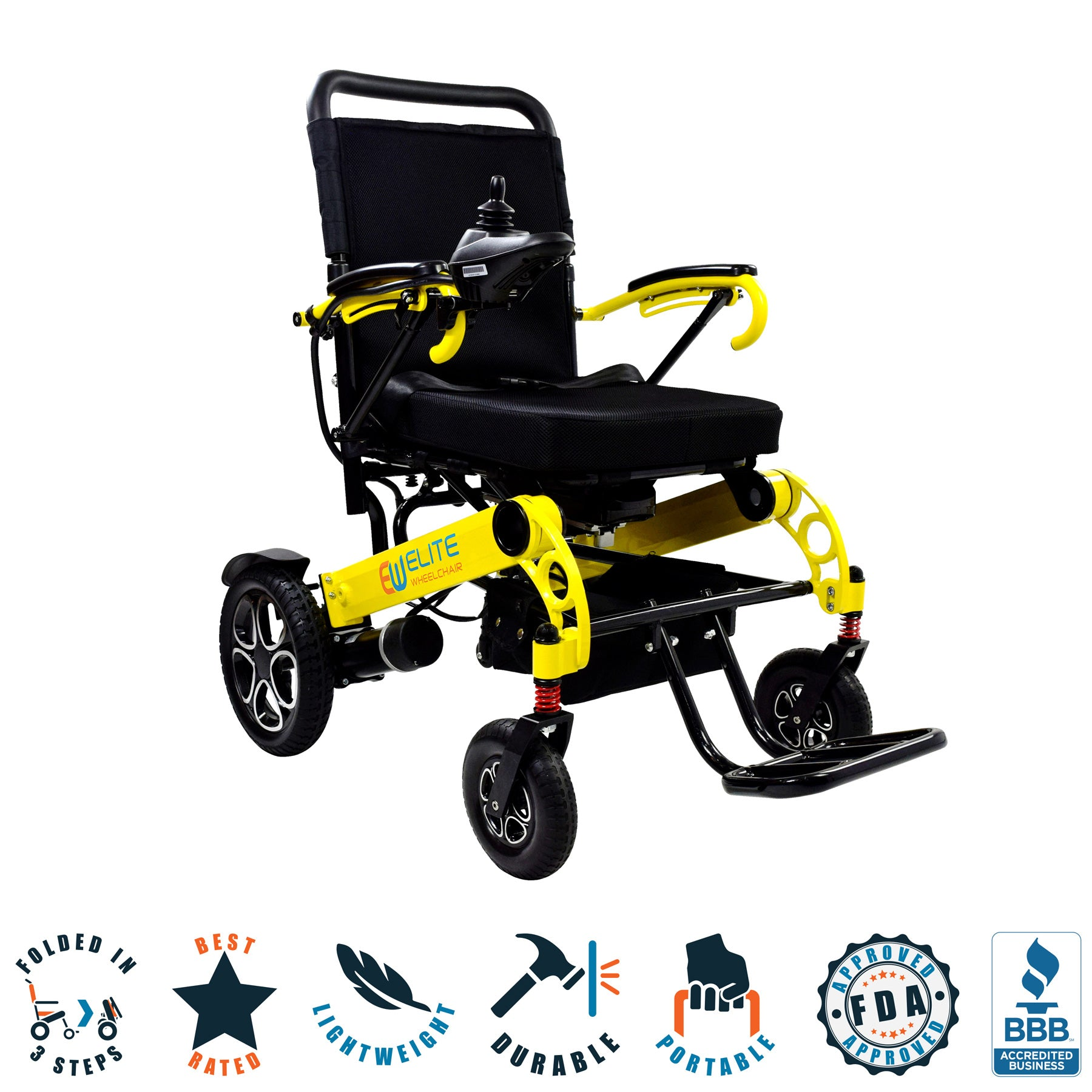 Folding electric wheelchair, model W5521 yellow. Large and wide seat.