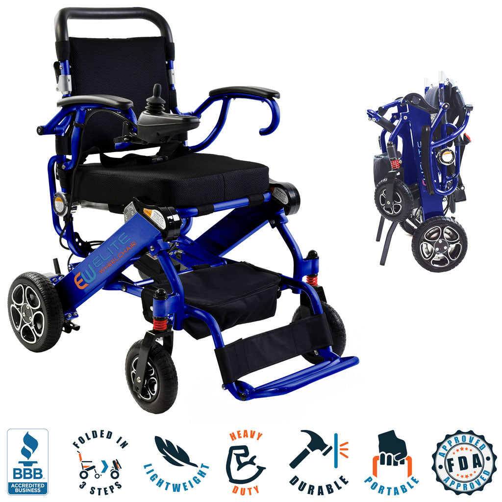 2021 Elite Wheelchair, Foldable Compact Model EW13 (Cobalt Blue).