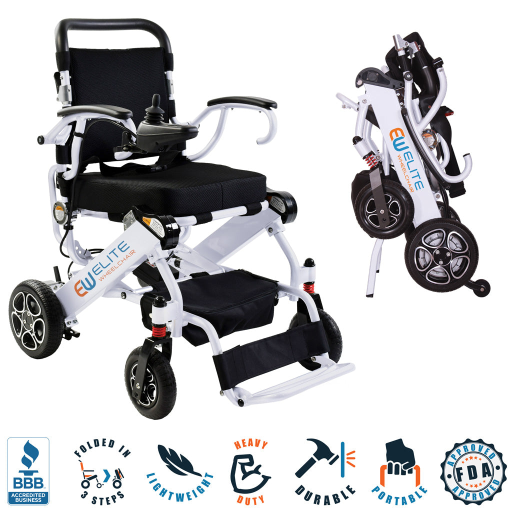 2021 Elite Wheelchair, Model EW13 White. COMBO.